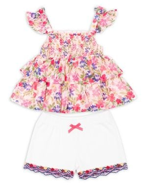 Little Girls TwoPiece Floral Top and Embroidered Shorts Set