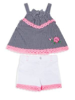 Little Girls TwoPiece LaceTrim Cotton Gingham Top and Shorts Set