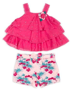 Little Girls TwoPiece Chiffon Tiered Ruffle Top and Floral Shorts Set