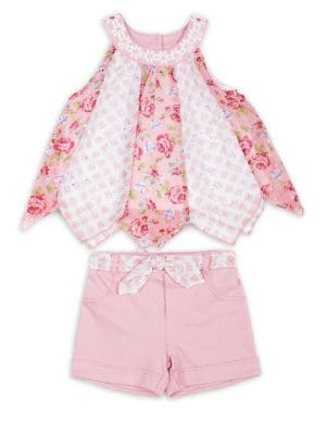 Little Girls TwoPiece Floral Chiffon Top and Shorts Set