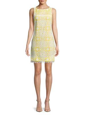 Petite Floral Lace Shift Dress 500088243938