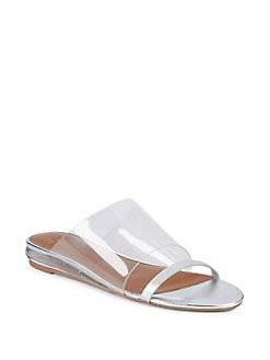 fbd6c404d3699 Charlie Clear Leather Slide Sandals SILVER. Product image