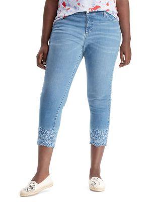 Plus Premier Straight Cropped Jeans 500088263367