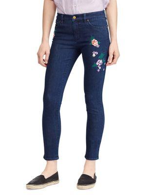 Petite Floral Embroidered Premier Skinny Crop Jean 500088264291