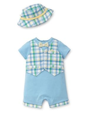 Baby Boys TwoPiece Cotton Vested Romper and Hat Set