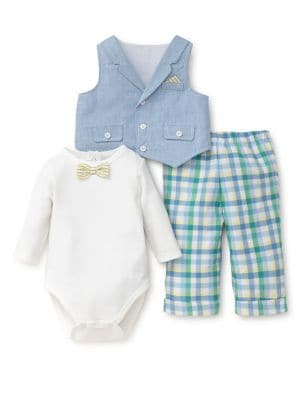 Baby Boys ThreePiece Handsome Cotton Bodysuit Vest and Plaid Pants