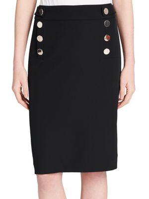 Buttoned Pencil Skirt...