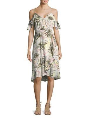 Pink Sands Cold-Shoulder Wrap Dress 500088277518