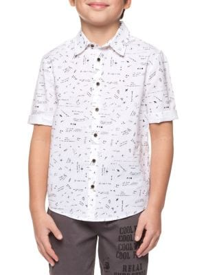 Boy's Printed Cotton Collared Shirt 500088281275