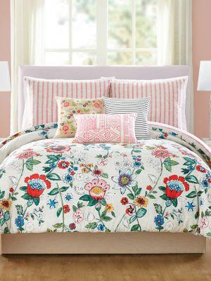 Coral Floral Cotton Sateen ThreePiece Comforter Set