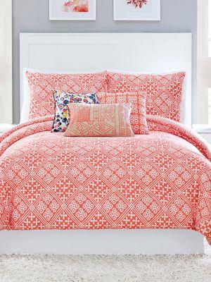 Cuban Tiles Cotton Sateen ThreePiece Comforter Set