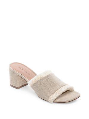 Blaire Linen Fringe Sandals 500088289453
