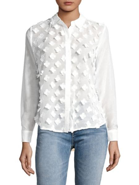 Eyelet Hi Lo Button Down Shirt by Jones New York