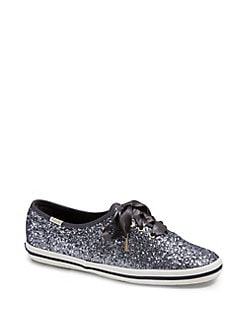Keds X Kate Spade New York Champion Glitter Low-Top Sneakers PEWTER.  Product image