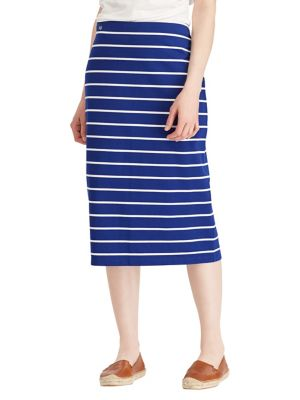 Striped Jersey Midi Skirt...