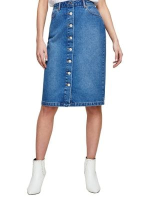 Button Cotton Midi Skirt...
