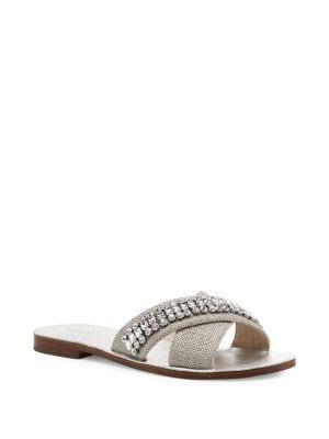 Alana Linen Jeweled Slides 500088322077