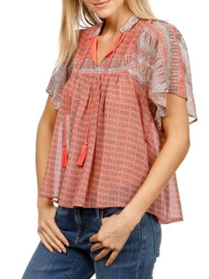 PLUS PRINTED TASSEL TOP
