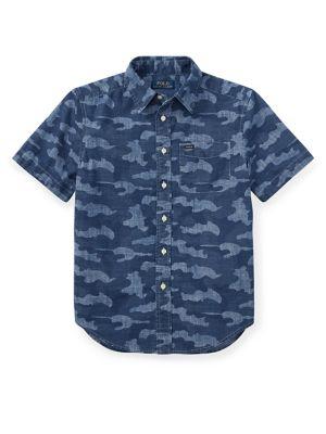 Boy's Printed Chambray Collared Shirt 500088332219