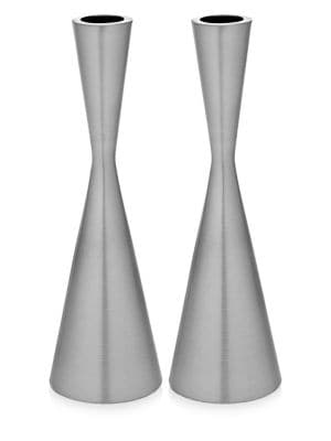 Lighting Set of Two Hourglass Candlesticks