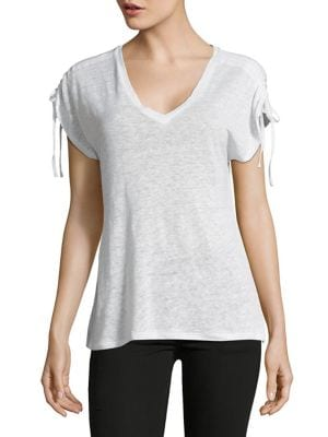 SELF-TIE LINEN TOP