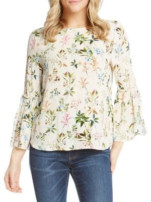 PRINTED TIE-SLEEVE TOP