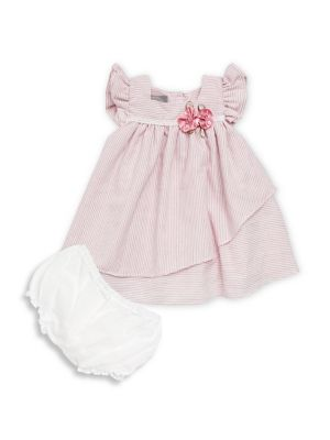 Baby Girls TwoPiece Striped Dress and Bloomers Set
