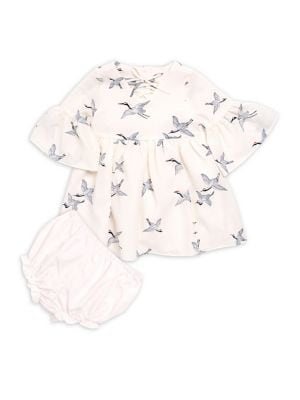 Baby Girls TwoPiece BirdPrint Dress and Bloomers Set