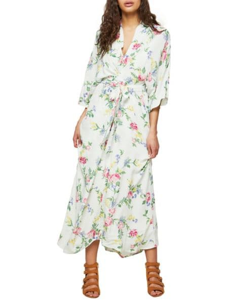 Floral Tiered Sleeve Wrap Dress by Miss Selfridge