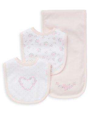 ThreePiece Roses Cotton Bib and Burp Cloth Set
