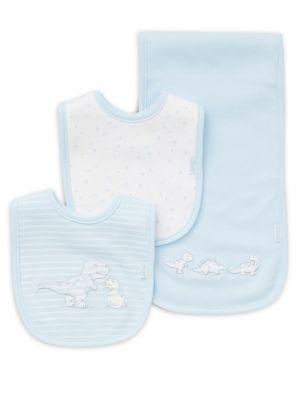 ThreePiece Dino Cotton Bib and Burp Cloth Set