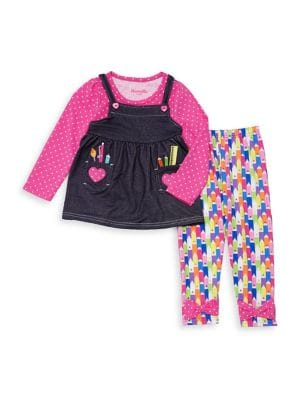 Little Girls TwoPiece Crayon Top and Leggings Set