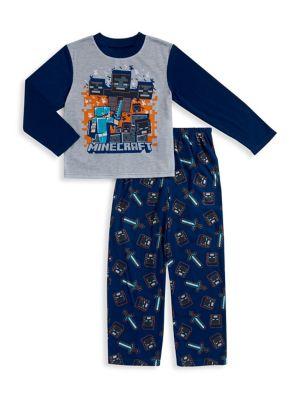 Little Boys and Boys Minecraft Long Sleeve Pajama Set