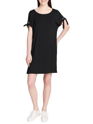 SHORT-SLEEVE SELF-TIE DRESS