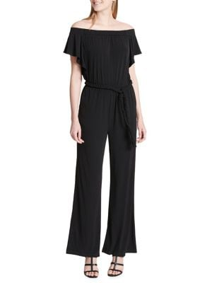 OFF-SHOULDER BRAIDED-TIE JUMPSUIT