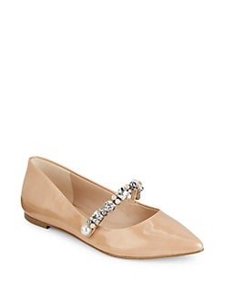 Cly Suede d'Orsay Bow Pearl Flats 8i9FOeIW