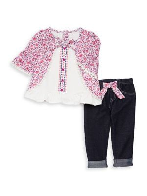 Little Girls TwoPiece Floral Top and Pants Set