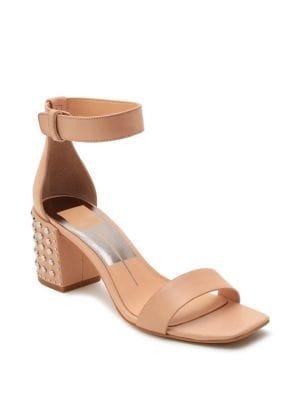 Dorah Studded Leather Ankle-Strap Sandals 500088416065