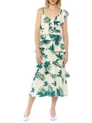 Palm Printed One-Shoulder Ruffle Dress 500088419654