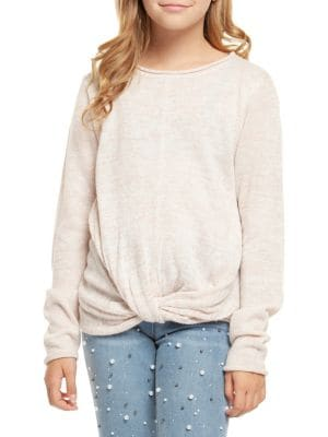 Girl's Knotted Hem Pullover...