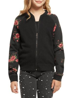 Girls FloralSleeve Bomber Jacket