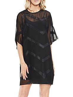 Zen Bloom Dolman-Sleeve Sheer Dress RICH BLACK. Product image