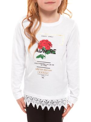 Little Girls Rose Graphic CrochetHem Top
