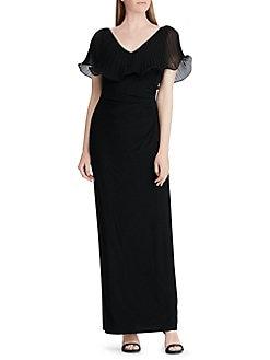 Product image. QUICK VIEW. Lauren Ralph Lauren. Georgette Flutter-Sleeve  Gown