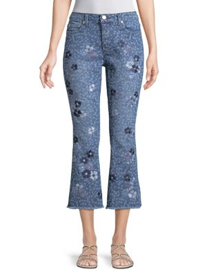 Floral-Embroidered Jeans 500088444289