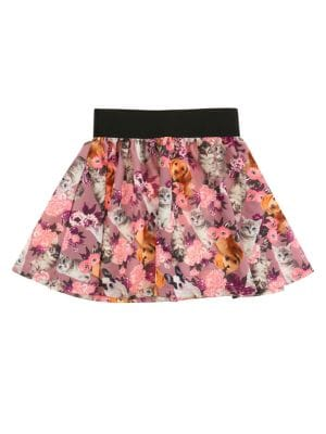 Little Girls  Girls Floral AnimalPrint Skater Skirt
