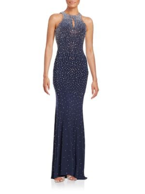 Embellished Open-Back Dress by Xscape