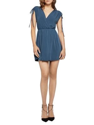 SHOULDER-TIE SURPLICE MINI DRESS