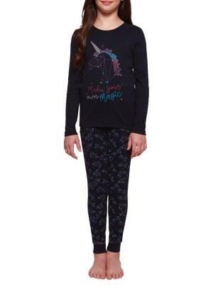 Girls TwoPiece Printed Pajamas Set