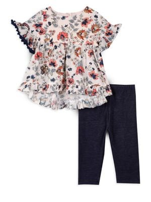 Little Girls TwoPiece Floral Top and Striped Leggings Set
